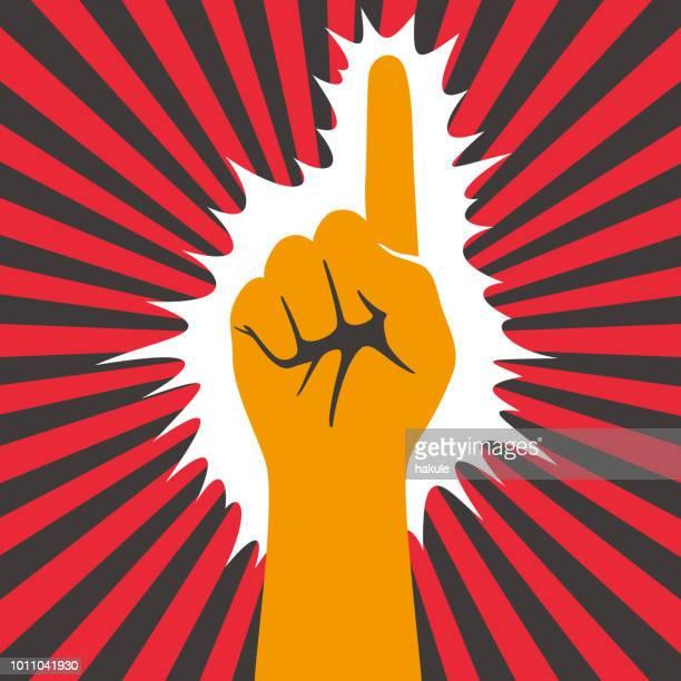 ilustraciones, imágenes clip art, dibujos animados e iconos de stock de mano gesticulan símbolo, vector illusatration - socialismo