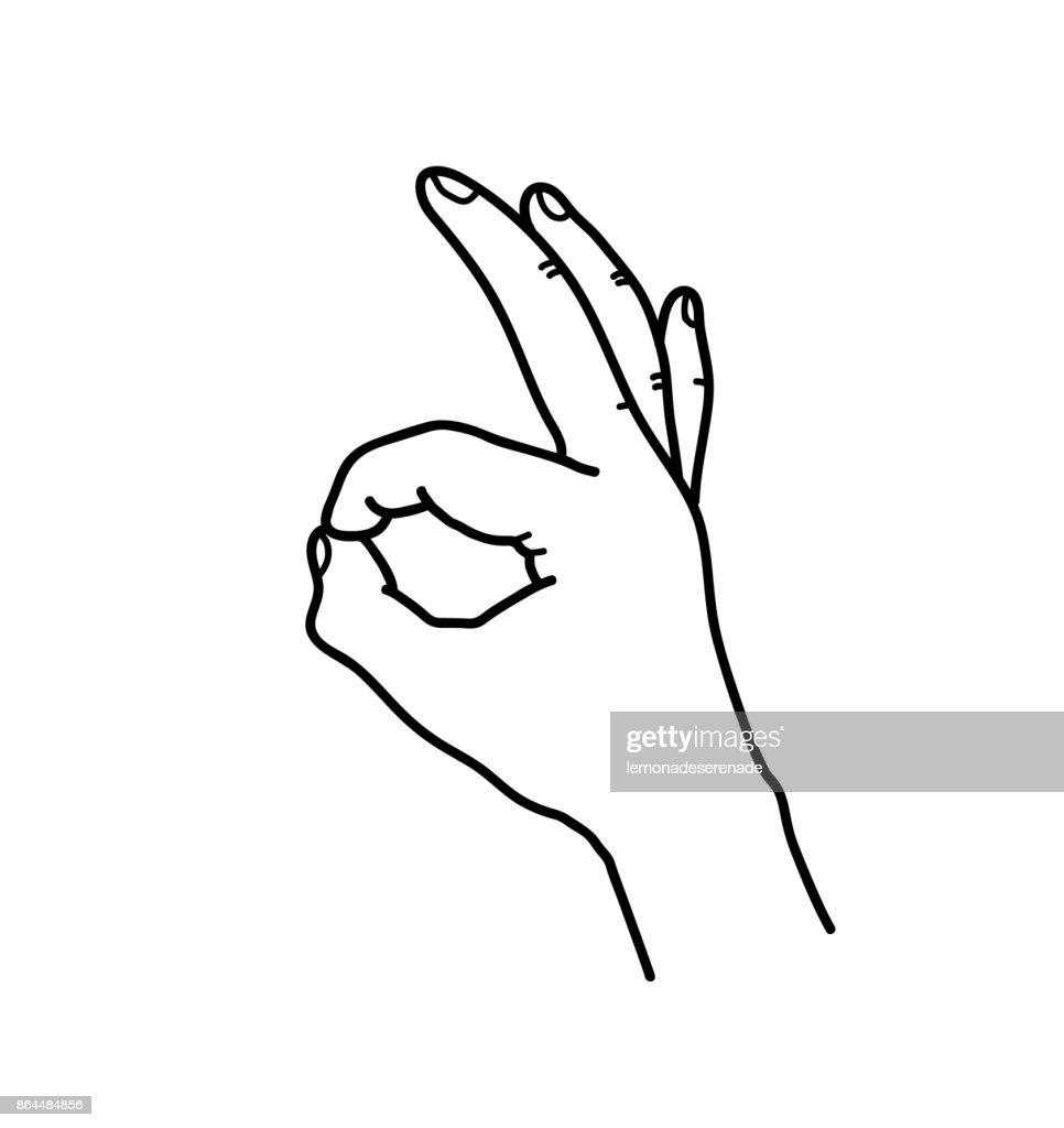 OK Hand Gesture Doodle Line Art