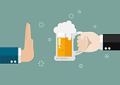 Hand gesture rejection a glass of beer