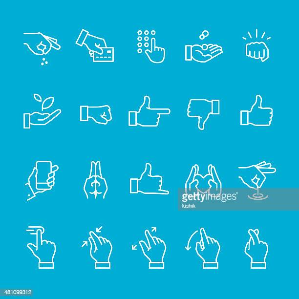 Hand gestures and sign icons collection
