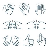 Hand gestures icons: clapping, brofisting and other