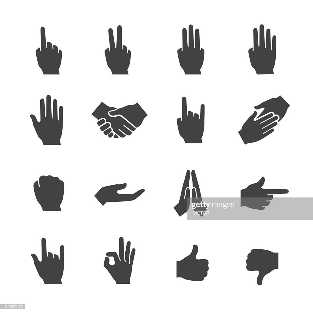 Hand Gestures Icons Set - Acme Series : stock illustration