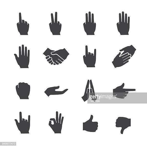 hand gestures icons set - acme series - aiming stock illustrations