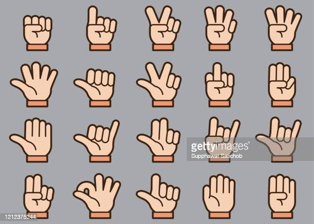 hand gestures icons set - counting stock illustrations