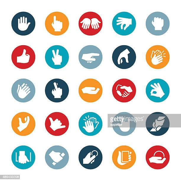 hand gestures icons - sign language stock illustrations, clip art, cartoons, & icons