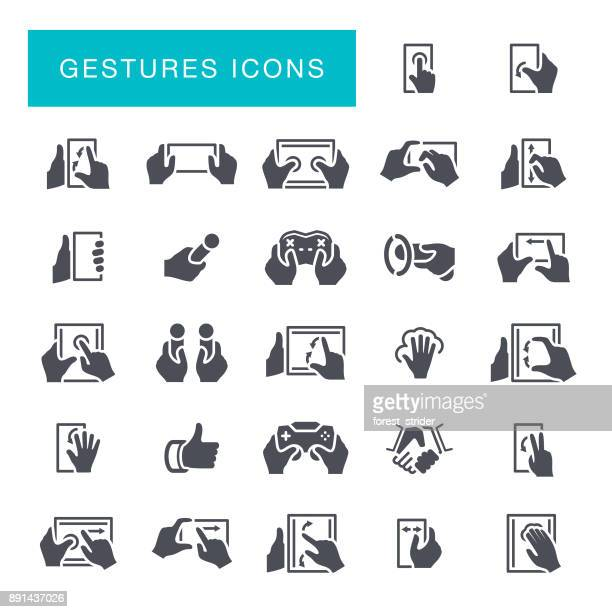 hand gestures icons - touchpad stock illustrations