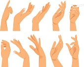 Hand gestures in different positions
