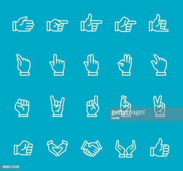 Hand Gestures - line icon set