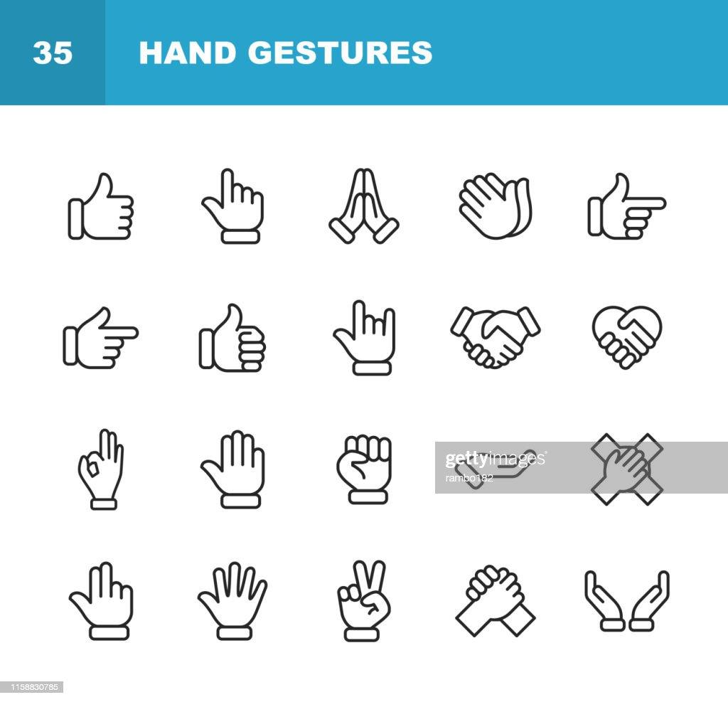 HandGesten Linie Icons. Bearbeitbarer Strich. Pixel perfekt. Für Mobile und Web. Enthält Symbole wie Geste, Hand, Nächstenliebe und Hilfsarbeit, Finger, Gruß, Handshake, Eine helfende Hand, Klatschen, Teamarbeit. : Stock-Illustration