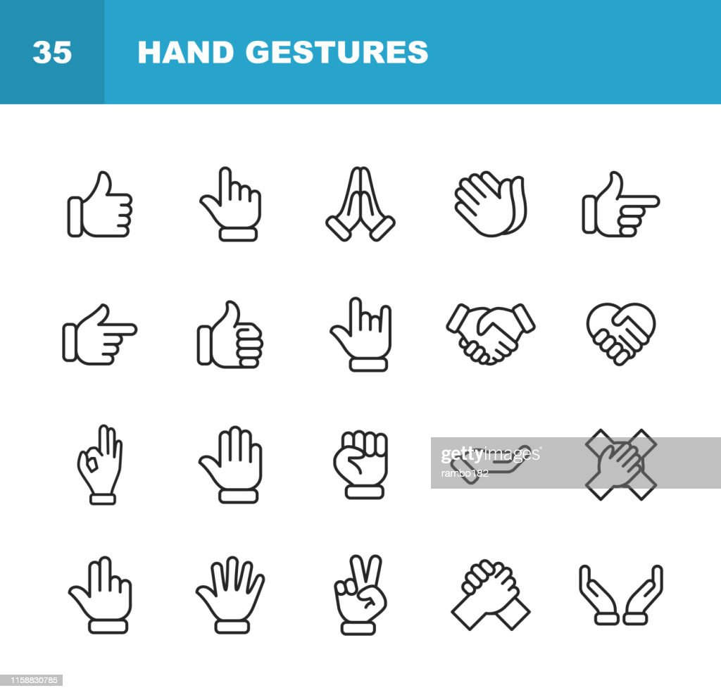 Hand Gestures Line Icônes. Accident vasculaire cérébral modifiable. Pixel Parfait. Pour Mobile et Web. Contient des icônes telles que Gesture, Hand, Charity and Relief Work, Finger, Greeting, Handshake, A Helping Hand, Clapping, Teamwork. : Illustration