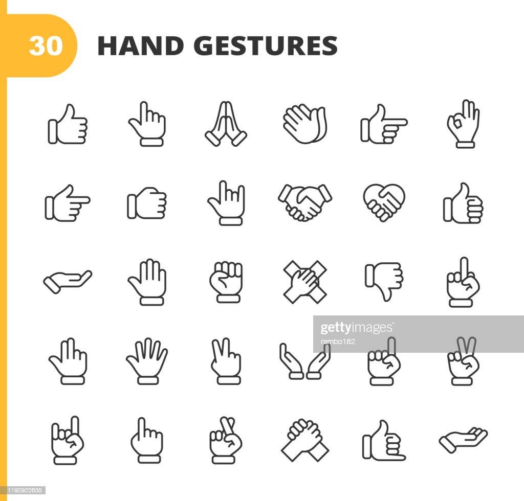 Icone della linea gesti delle mani. Tratto modificabile. Pixel Perfetto. Per dispositivi mobili e Web. Contiene icone come Gesto, Mano, Beneficenza e Lavori di Soccorso, Dito, Saluto, Stretta di Mano, Una Mano, Applausi, Lavoro di squadra. : Illustrazione stock
