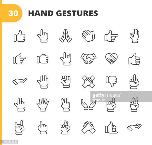 illustrations, cliparts, dessins animés et icônes de hand gestures line icônes. accident vasculaire cérébral modifiable. pixel parfait. pour mobile et web. contient des icônes telles que gesture, hand, charity and relief work, finger, greeting, handshake, a helping hand, clapping, teamwork. - main