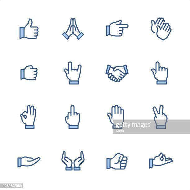 handgesten - pixel perfect blaue umrisssymbole - hände verschränken stock-grafiken, -clipart, -cartoons und -symbole