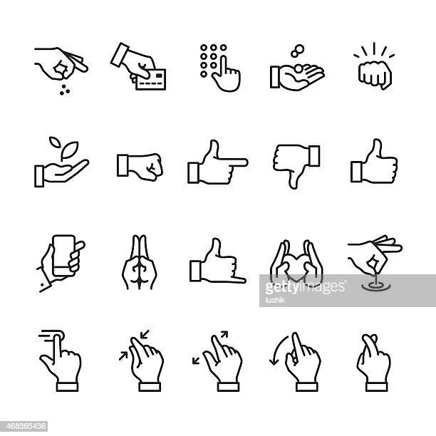 hand gestures related linear icons - thumbs down stock illustrations