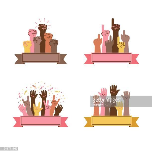 ilustrações de stock, clip art, desenhos animados e ícones de hand gestures set - direitos humanos