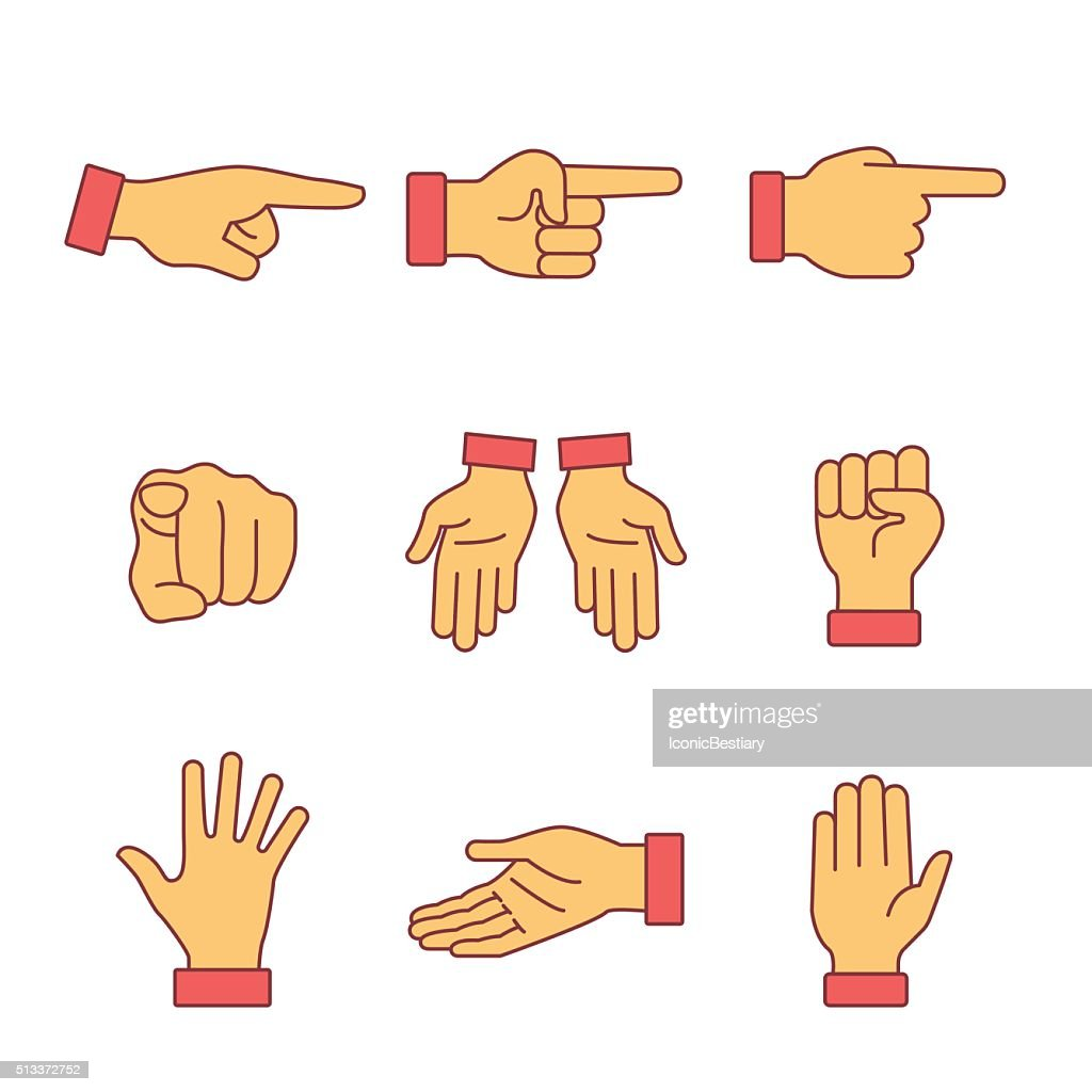 Hand gestures signs set. Thin line art icons