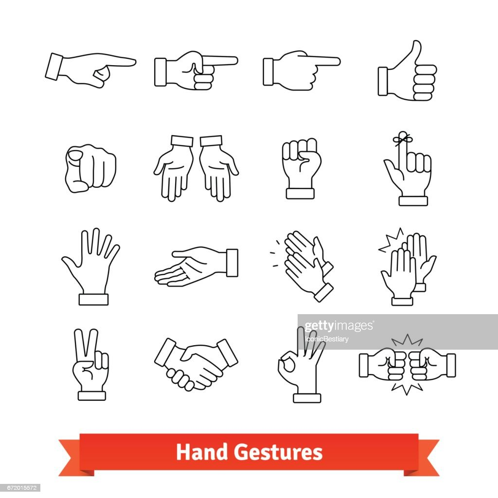 Hand gestures thin line art icons set