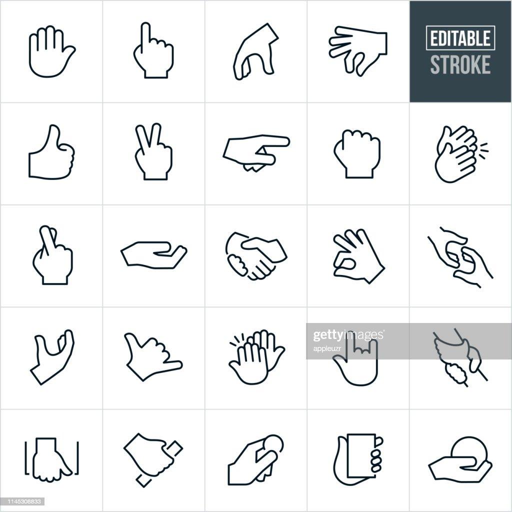Ícones finos da linha dos gestos de mão-curso editable : Ilustração