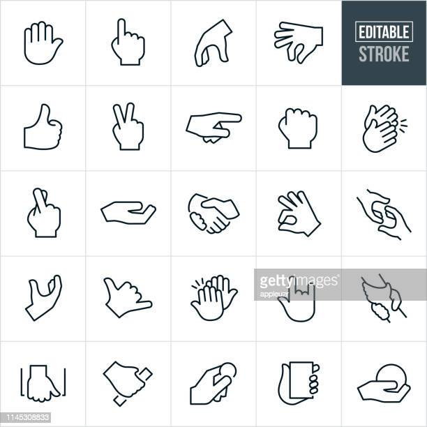 hand gestures thin line icons - editable stroke - peace sign stock illustrations, clip art, cartoons, & icons