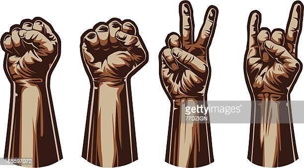 hand gestures - revolution stock illustrations, clip art, cartoons, & icons