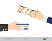 Hand giving 200 Indian Rupee and credit card instead. Flat style vector illustration. Business finance concept.