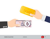 Hand giving 200 Turkish Lira and ticket instead. Flat style vector illustration. Business finance concept.