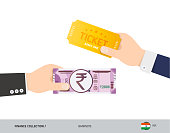 Hand giving 2000 Indian Rupee and ticket instead. Flat style vector illustration. Business finance concept.