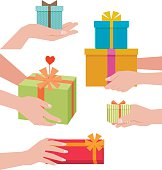 Hand giving a gift box isolated on white background