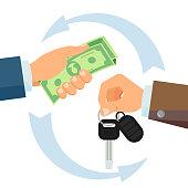 Hand Giving Car Keys Vector. Business Car Rental, Sale Concept. Car Salesman And New Owner. Holding Car Key, Money. Flat Cartoon Isolated Illustration