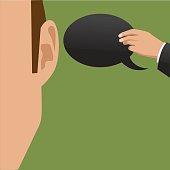 Hand giving ear a speech bubble