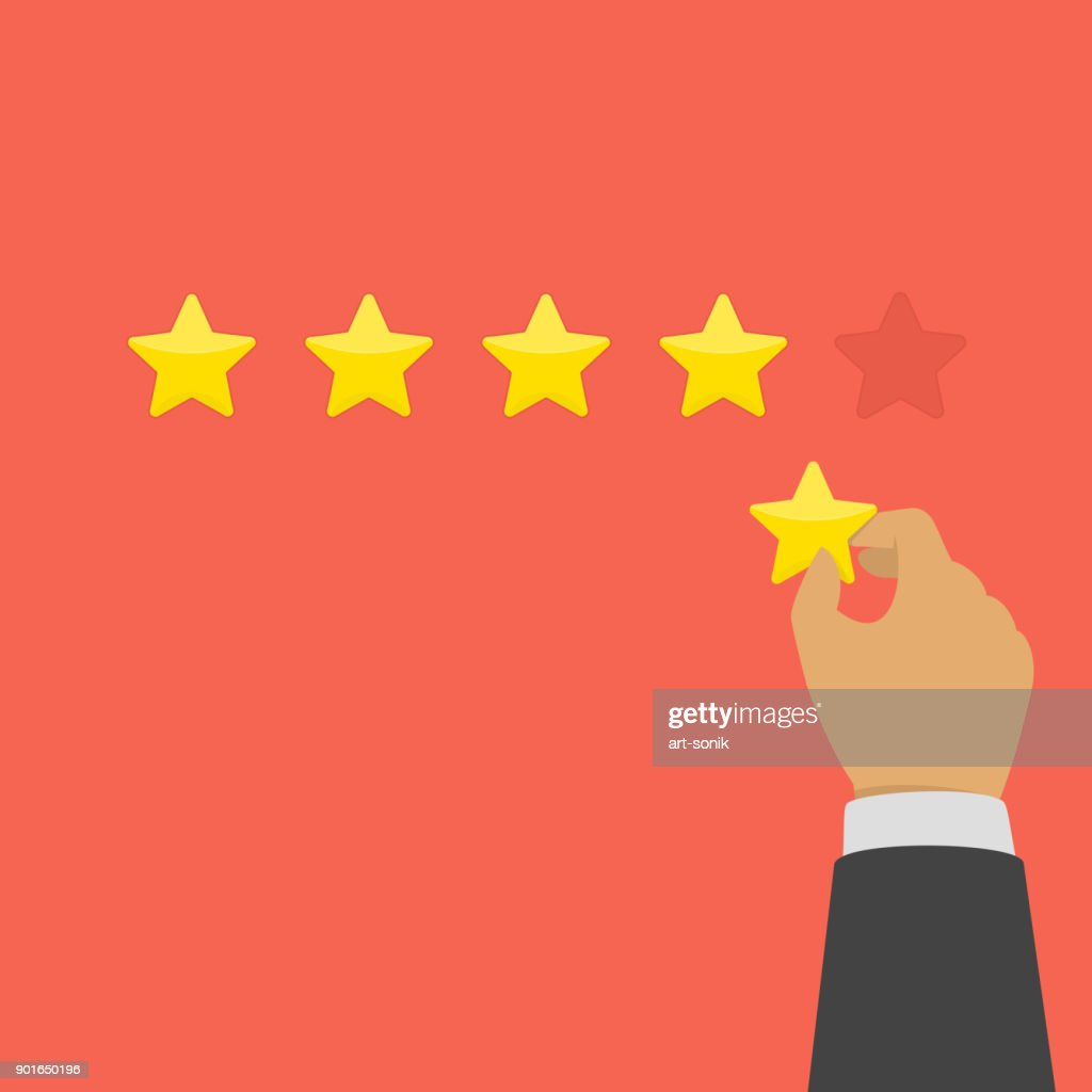 Hand giving five star rating.