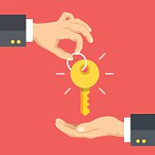 Hand giving key. Real estate, rent apartments, cars. Vector illustration