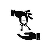 Hand giving key to other hand icon. Real estate, car sale, rent apartments or house concept. Vector flat illustration
