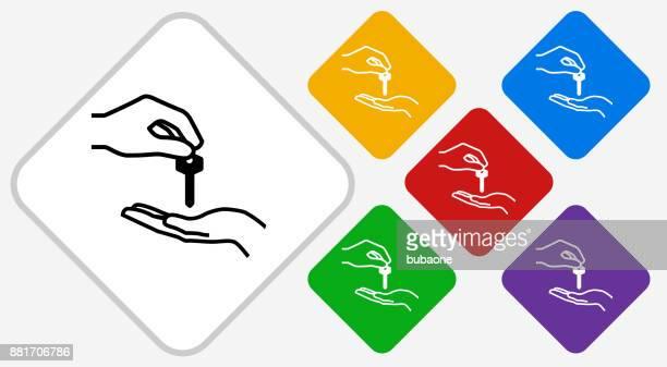 hand giving keys color diamond vector icon - butler stock illustrations, clip art, cartoons, & icons