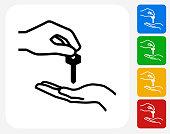 Hand Giving Keys Icon Flat Graphic Design
