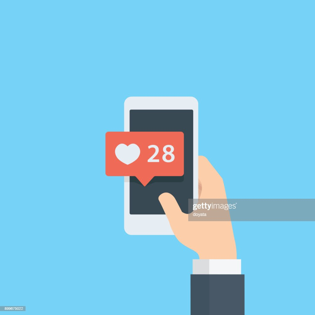 Hand giving like rating on social media with smartphone, Pointing hand and love bubble notification, heart like notification