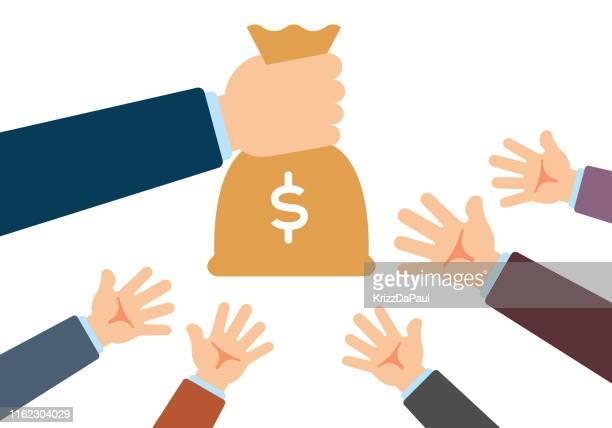 hand giving money bag - money bag stock illustrations