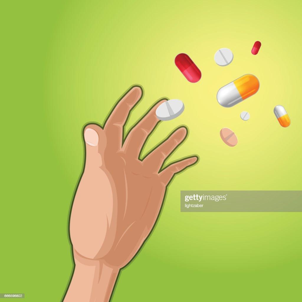 Hand Grab Drug Medicine Capsule Vector