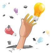 Hand Grab Idea Light Bulb Vector