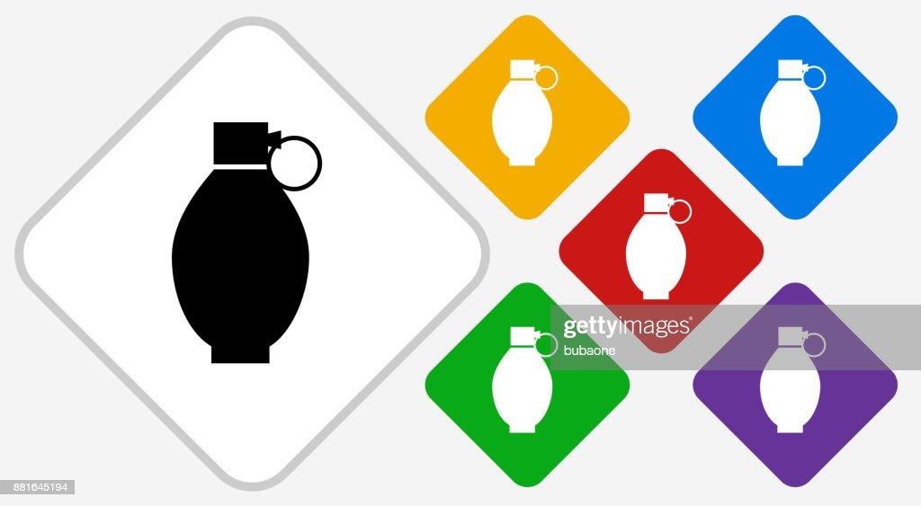 Hand Grenade Color Diamond Vector Icon : Vector Art