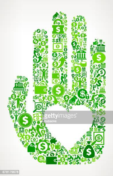 hand & heart  money and finance green vector icon background - flipping a coin stock illustrations, clip art, cartoons, & icons
