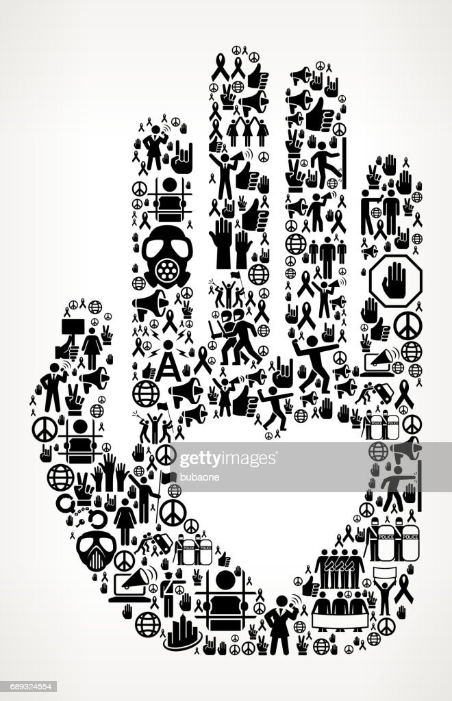 Hand & Heart  Protest and Civil Rights Vector Icon Background : Stock Illustration