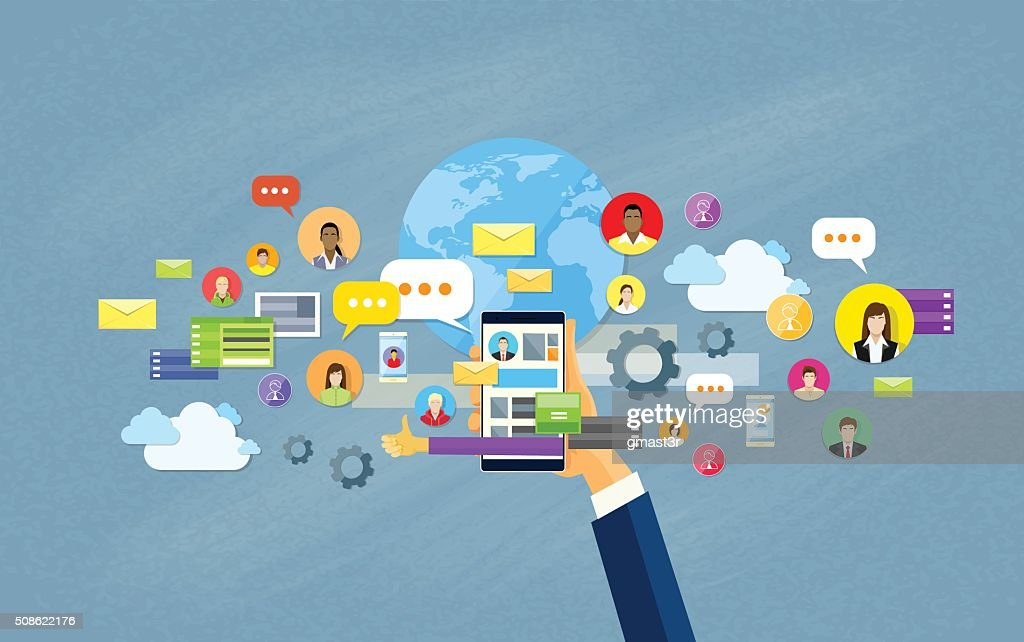 Hand Hold Cell Smart Phone Social Network Communication Concept : Vector Art