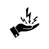 hand hold lightning icon on white background