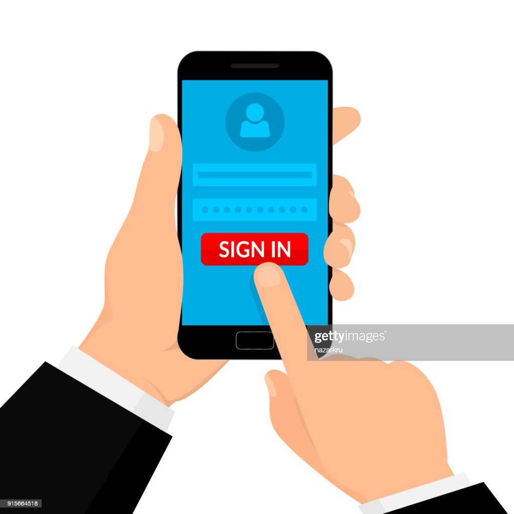 Hand Hold Smartphone. Sign in Page on Smartphone Screen. Mobile account concept. Vector illustration. Flat style.