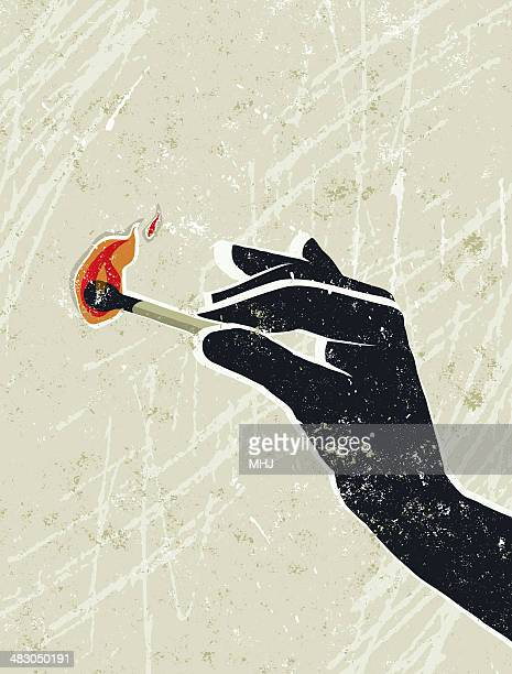 hand holding a burning match - igniting stock illustrations