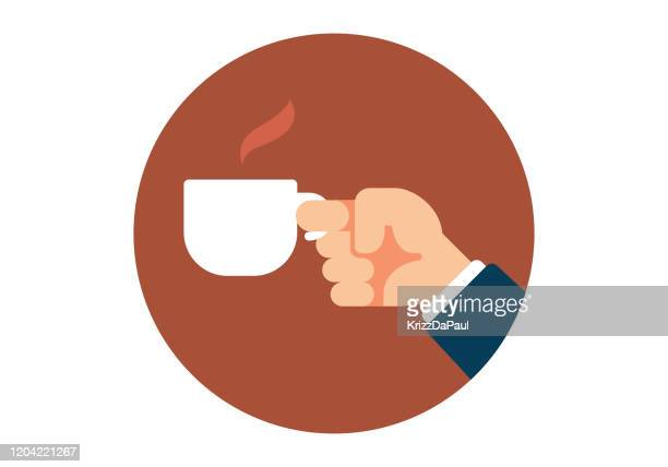hand holding a coffee cup - coffee break stock illustrations