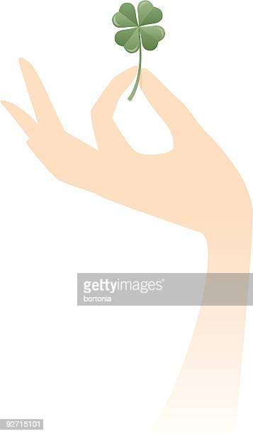 Hand Holding a Four Leaf Clover