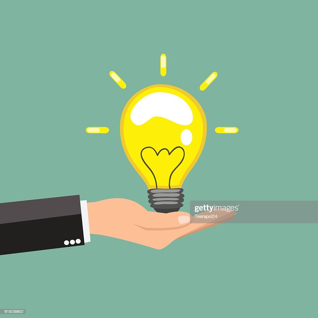 Hand holding a great idea - vector illustration