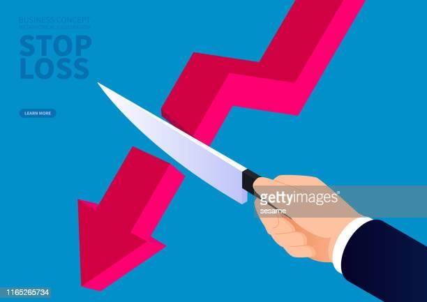 stockillustraties, clipart, cartoons en iconen met hand houden van een mes afgesneden van de vallende pijl - budget